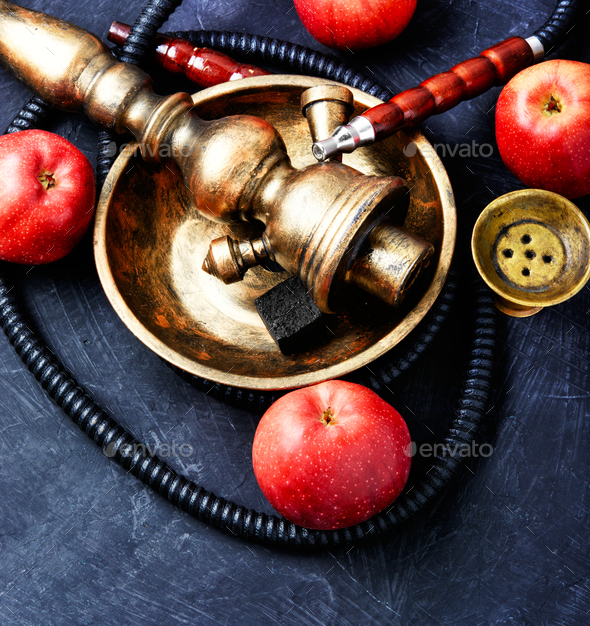 Nargile with apple - Stock Photo - Images