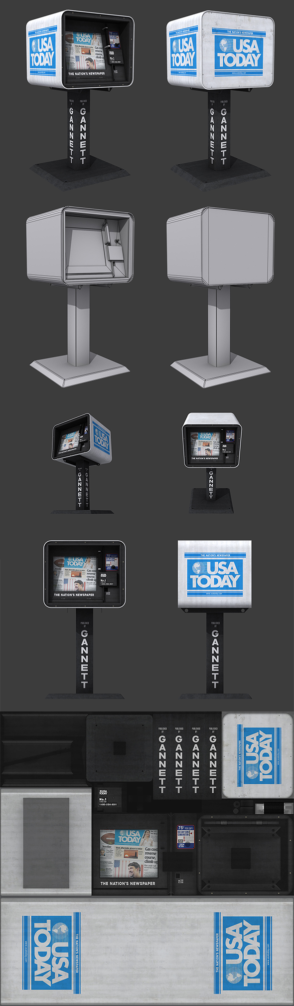 USA Today Newspaper Dispenser - 3DOcean Item for Sale