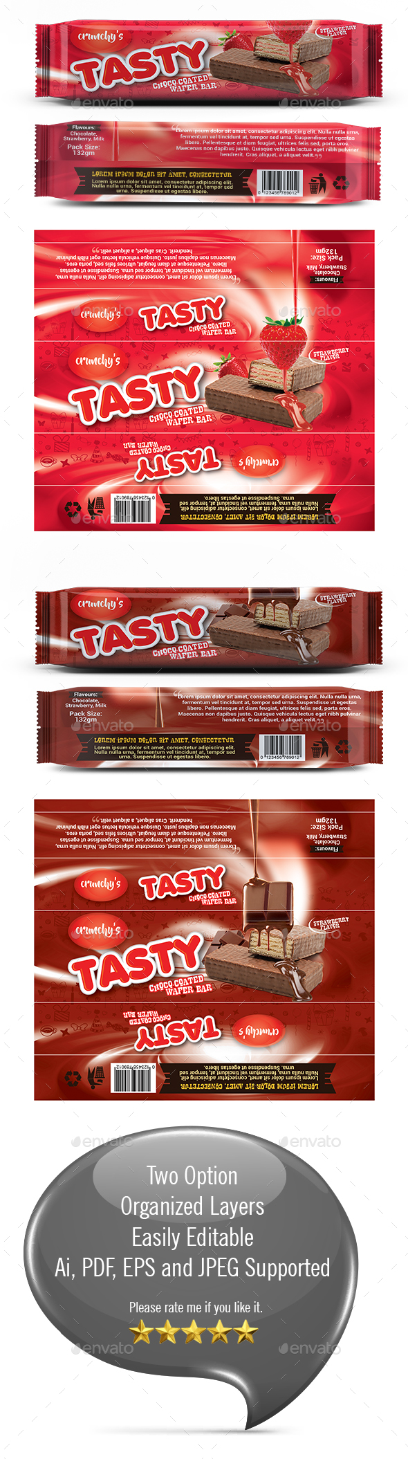 Chocolate Bar Wrapper Tempalte - Packaging Print Templates