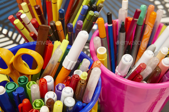Colorful markers with color pencils and scissors. School material. Horizontal - Stock Photo - Images