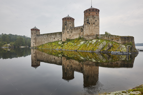 Savonlinna castle fortress at dawn. Finland landmark. Finnish heritage. Horizontal - Stock Photo - Images