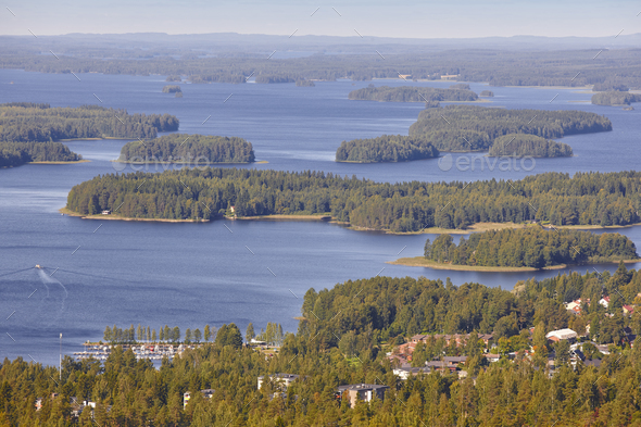 Kuopio area in Finland. Island, forest lake. Finnish landscape. Horizontal - Stock Photo - Images