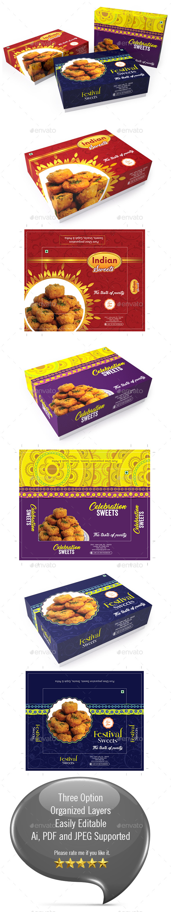 Sweet Box Packaging Template Vol-01 - Packaging Print Templates