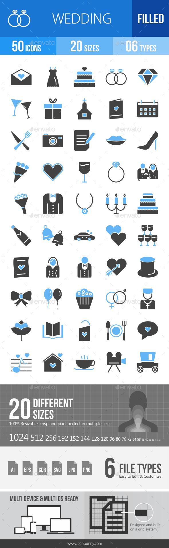 50 Wedding Filled Blue & Black Icons - Icons
