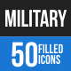 50 Military Filled Blue & Black Icons