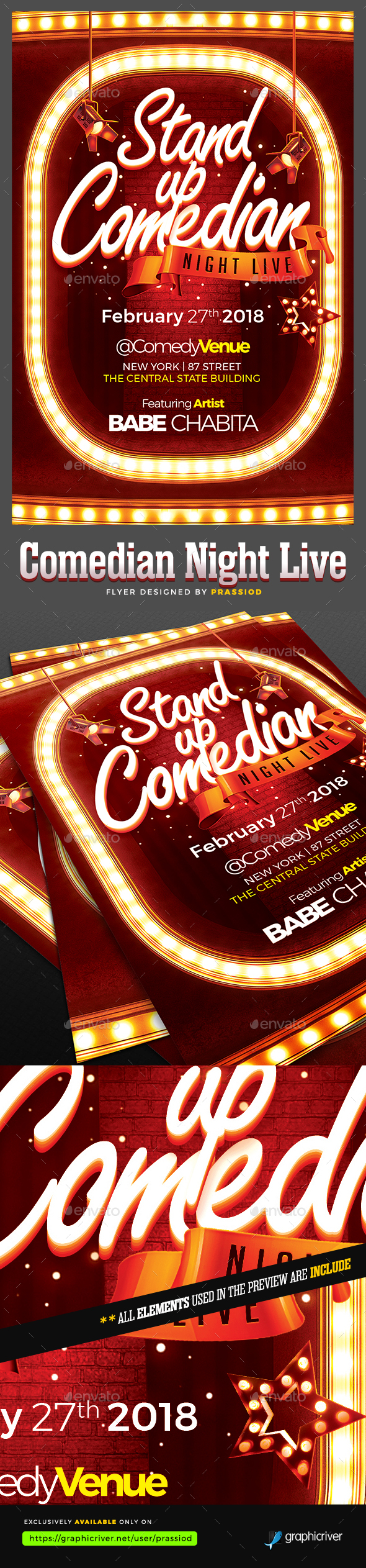 Comedian Night Live Flyer Template - Clubs & Parties Events