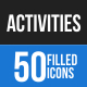 50 Activities Filled Blue & Black Icons - GraphicRiver Item for Sale