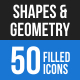 50 Shapes & Geometry Filled Blue & Black Icons