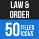 50 Law & Order Filled Blue & Black Icons