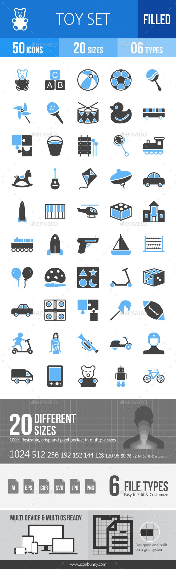 50 Toy Set Filled Blue & Black Icons - Icons