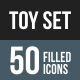 50 Toy Set Filled Blue & Black Icons - GraphicRiver Item for Sale