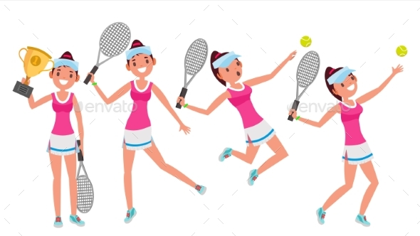 Tennis Player Vector. Young And Healthy. Players - People Characters
