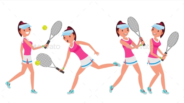 Female Tennis Player Vector. Woman Big Tennis - People Characters