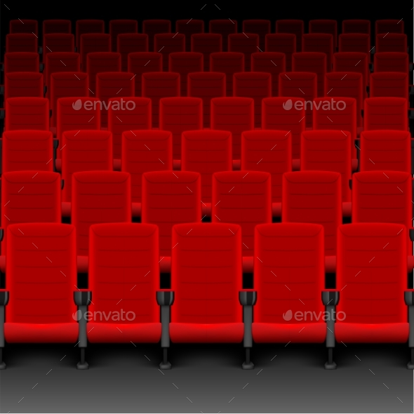 Realistic Cinema Hall Red Seats. Movie Theater - Miscellaneous Vectors