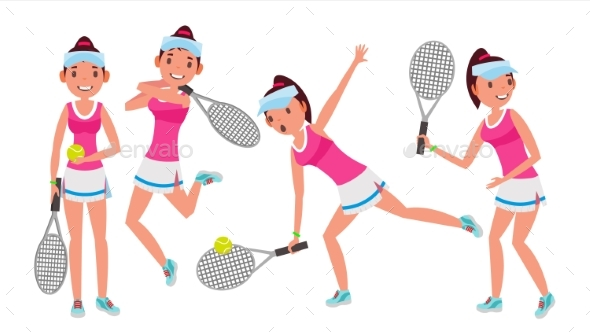 Professional Tennis Player Vector. Summer Sport - People Characters