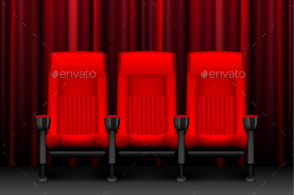 Cinema Show Design with Red Empty Seats. Poster - Objects Vectors