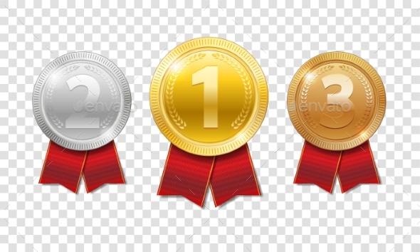 Champion Award Medals Sport Prize. Gold, Silver - Miscellaneous Vectors