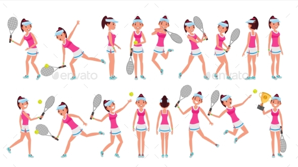 Woman Tennis Player Vector. Playing With The Ball - People Characters