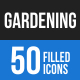 50 Gardening Filled Blue & Black Icons