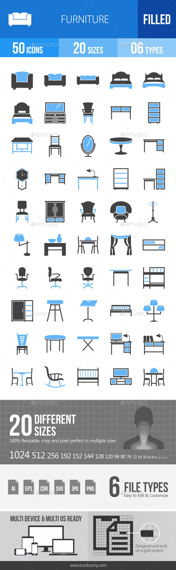 50 Furniture Filled Blue & Black Icons - Icons