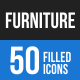 50 Furniture Filled Blue & Black Icons - GraphicRiver Item for Sale