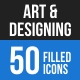 50 Art & Designing Filled Blue & Black Icons