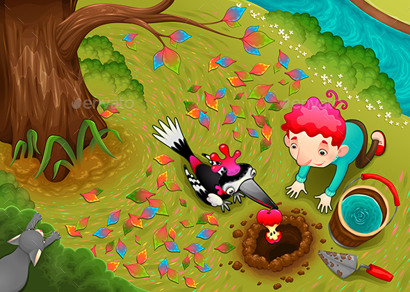 Woodpecker and the Boy are Seeding an Apple Seed - Animals Characters