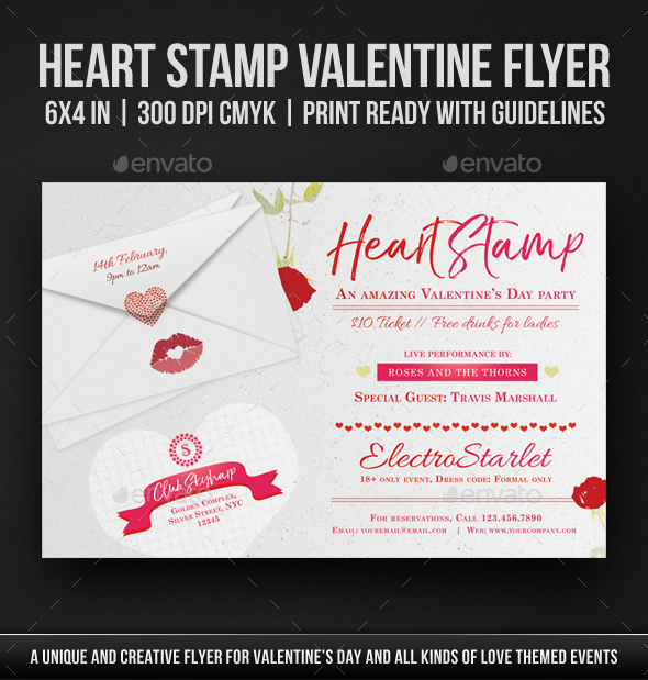 Heart Stamp Valentine Flyer - Holidays Events