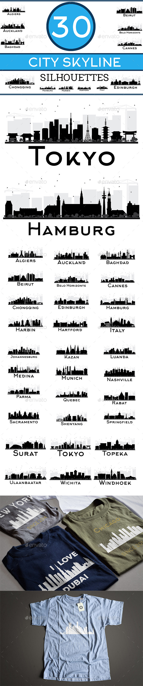 30 City Skyline Silhouettes - Buildings Objects