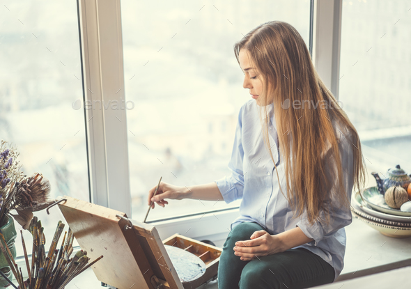 Attractive painter - Stock Photo - Images