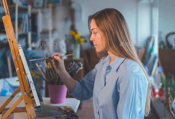 Painting woman - Stock Photo - Images