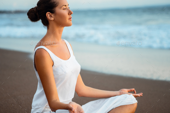 Meditation outdoors - Stock Photo - Images