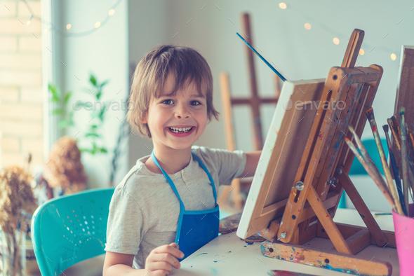 Boy in studio - Stock Photo - Images