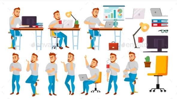 Business Character Vector. Working People Set - Business Conceptual