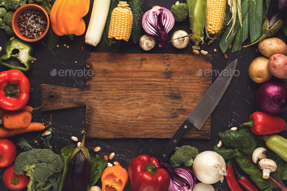Frame of fresh vegetables on wooden background with copy space - Stock Photo - Images