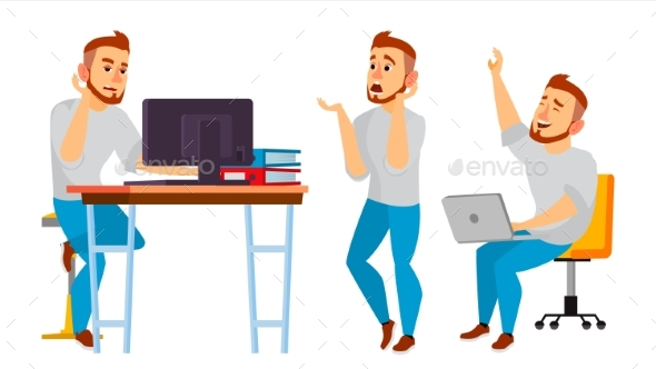 Business Character Vector. Working Man - Business Conceptual