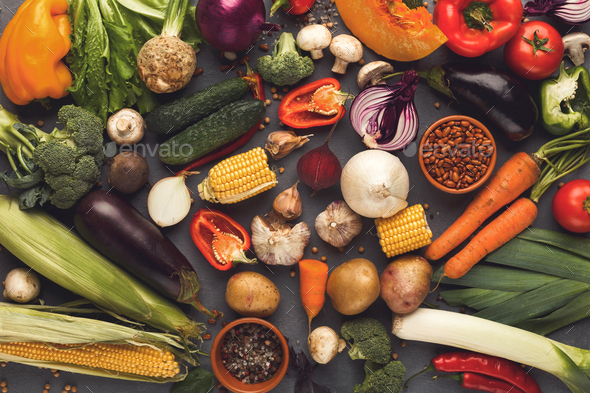 Fresh bright vegetables background - Stock Photo - Images
