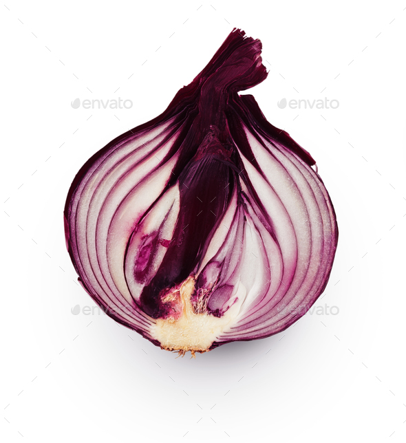 Onion bulb half isolated on white background - Stock Photo - Images