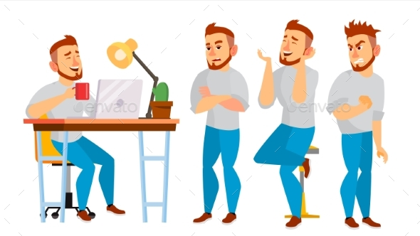 Business Character Vector. Working Boy, Man - Business Conceptual