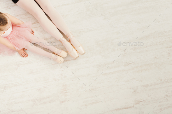 Ballerinas in pointe ballet shoes, graceful legs - Stock Photo - Images