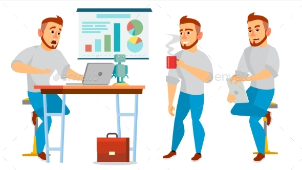 Business Character Vector. Working Male - Business Conceptual