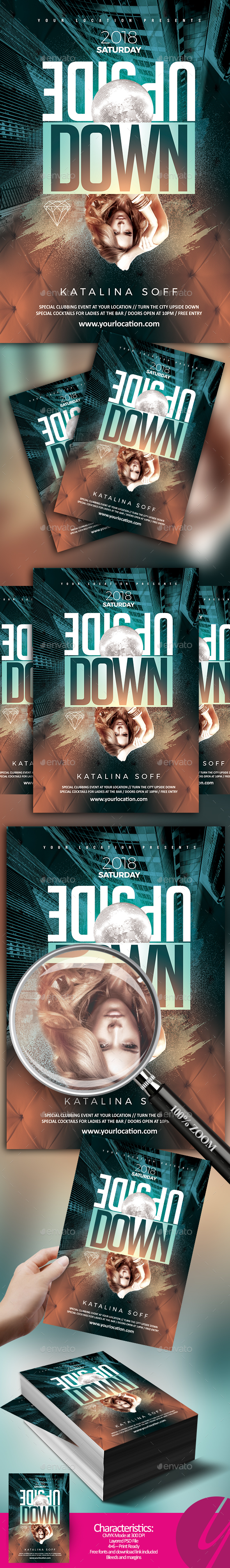 Upside Down Party Flyer - Clubs & Parties Events