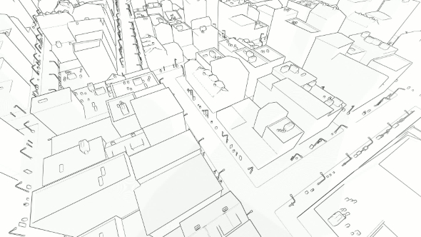 VideoHive Flying in the Sketched City on White 21235878
