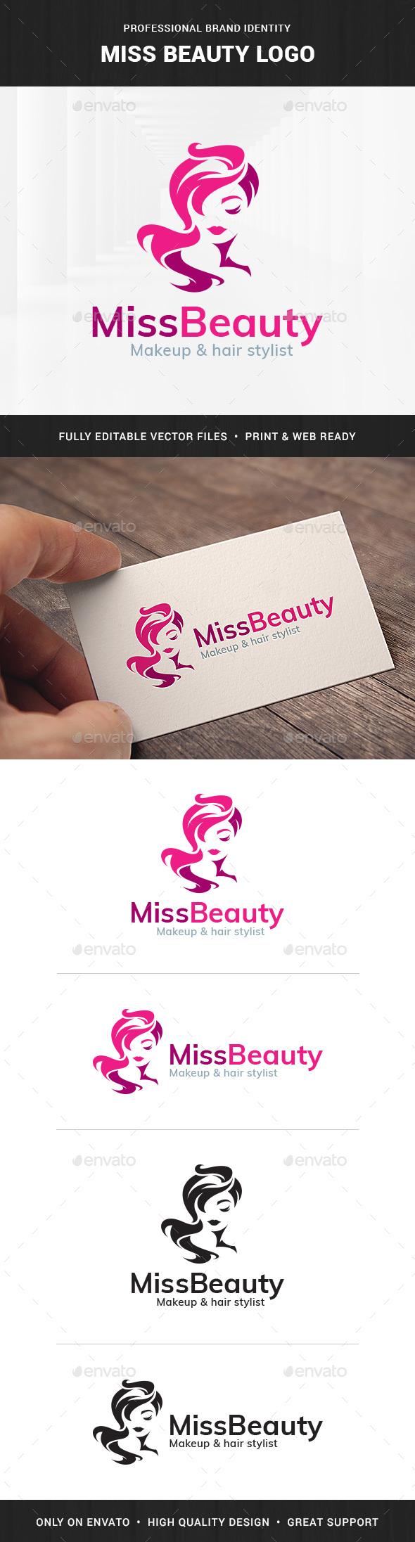 Miss Beauty Logo Template - Humans Logo Templates