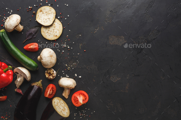 Vegetables on dark background top view copy space - Stock Photo - Images