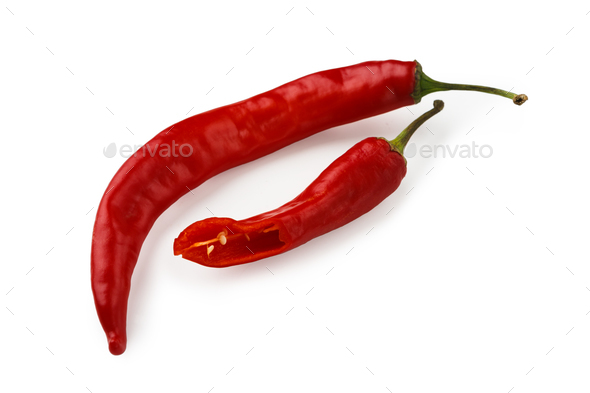 Red chili peppers closeup isolated on white background - Stock Photo - Images
