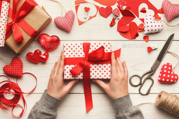 Valentine day background, handmade giftbox on wood, copy space - Stock Photo - Images