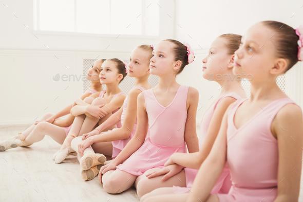 Little ballerinas in ballet studio - Stock Photo - Images