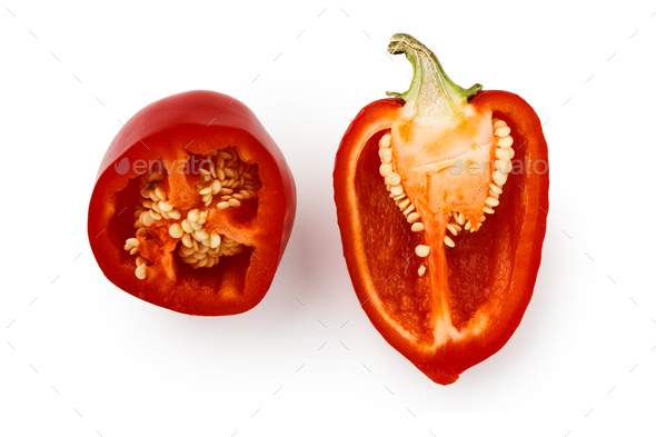 Cut red pepper isolated on white background - Stock Photo - Images