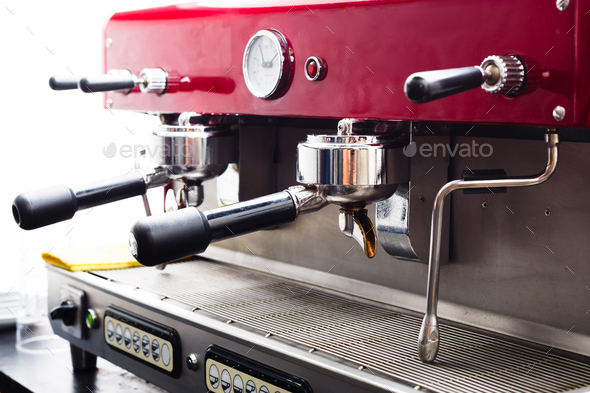 Professional coffee machine closeup - Stock Photo - Images